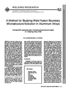 A Method for Studying Weld Fusion Boundary Microstructure Evolution ...