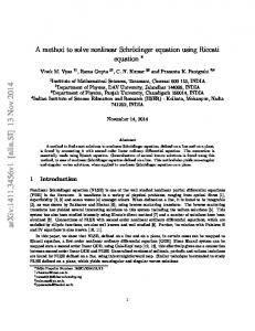 A method to solve nonlinear Schr\