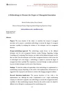 A Methodology to Measure the Degree tf Managerial ...