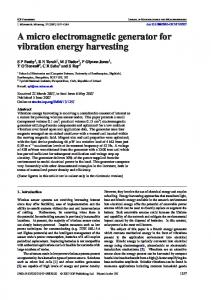 A micro electromagnetic generator for vibration energy harvesting