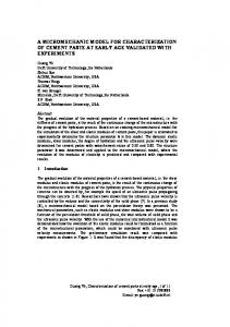 A micromechanic model for characterization of cement paste at early ...