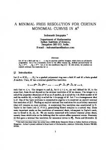 a minimal free resolution for certain monomial curves
