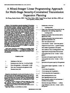 A Mixed-Integer Linear Programming Approach for Multi-Stage ...