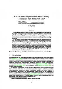 A Model-Based Frequency Constraint for Mining ... - Semantic Scholar