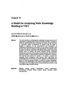 A Model for Analyzing Math Knowledge Building in VMT - Gerry Stahl
