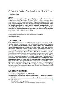 A Model of Factors Affecting Foreign Brand Trust - Journal of ...