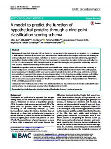 A model to predict the function of hypothetical proteins
