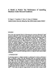 A Model to Predict The Performance of tunnelling Machines Under ...
