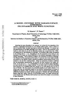 A MODEL UNIVERSE WITH VARIABLE SPACE DIMENSION: ITS