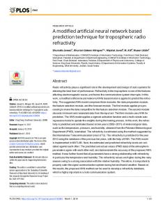 A modified artificial neural network based prediction technique ... - PLOS
