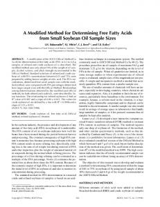 A Modified Method for Determining Free Fatty Acids from Small