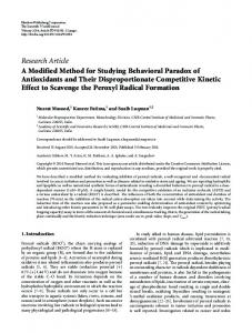 A Modified Method for Studying Behavioral Paradox of Antioxidants ...