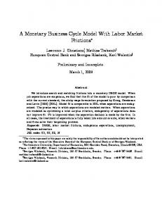 A Monetary Business Cycle Model With Labor Market ... - CiteSeerX