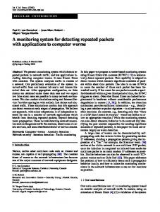 A monitoring system for detecting repeated packets with ... - CiteSeerX