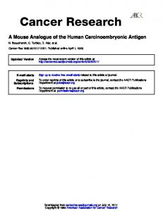 A Mouse Analogue of the Human Carcinoembryonic Antigen