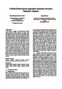 A Multi-Dimensional approach towards Intrusion Detection System