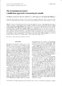 a multi-item approach to measuring dry mouth
