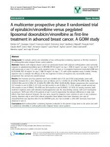 A multicenter prospective phase II randomized trial of epirubicin ...