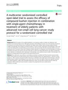 A multicenter randomized controlled open-label trial to assess the ...