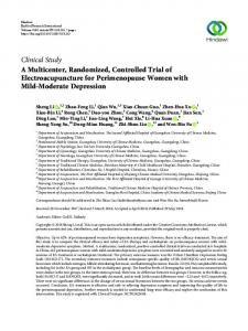 A Multicenter, Randomized, Controlled Trial of Electroacupuncture for ...