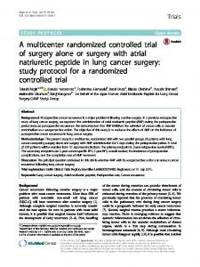 A multicenter randomized controlled trial of surgery ... - Trials Journal