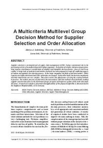 A Multicriteria Multilevel Group Decision Method for Supplier Selection ...