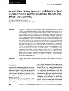 A multidimensional approach to determinants of computer ... - CiteSeerX