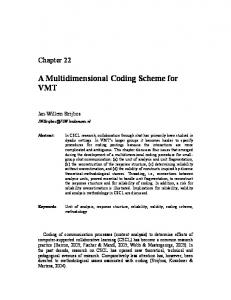 A Multidimensional Coding Scheme for VMT - Gerry Stahl