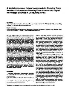 A multidimensional network approach to ... - Wiley Online Library