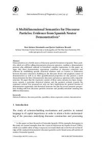 A Multidimensional Semantics for Discourse Particles: Evidence from ...