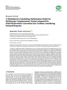 A Multiobjective Scheduling Optimization Model for Multienergy