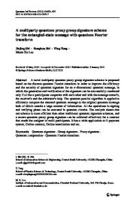 A multiparty quantum proxy group signature scheme ... - Springer Link
