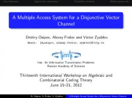A Multiple Access System for a Disjunctive Vector ... - Semantic Scholar