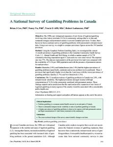 A National Survey of Gambling Problems in Canada - Canadian ...