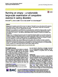 a nationwide large-scale examination of compulsive exercise in eating ...