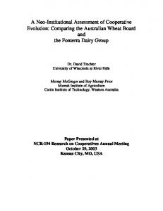 A Neo-Institutional Assessment of Cooperative ... - AgEcon Search