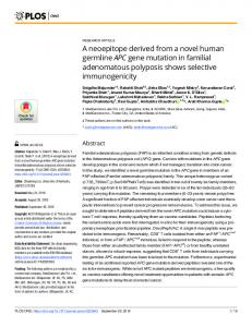 A neoepitope derived from a novel human germline APC gene ... - Plos