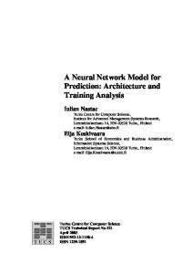 A Neural Network Model for Prediction: Architecture and ... - CiteSeerX
