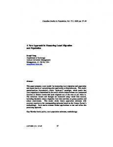 A New Approach in Measuring Local Migration and ... - CiteSeerX