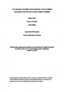 A New Approach to Investigate Market Integration: a ... - AgEcon Search