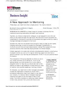 A New Approach to Mentoring