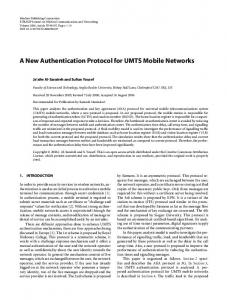 A New Authentication Protocol for UMTS Mobile ... - Springer Link