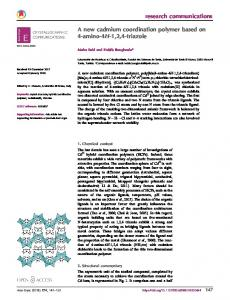 A new cadmium coordination polymer based on 4 ... - IUCr Journals