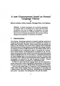 A new Cryptosystem based on Formal Language