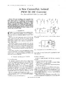 A New Current-Fed, Isolated PWM DC-DC Converter - Ivo Barbi