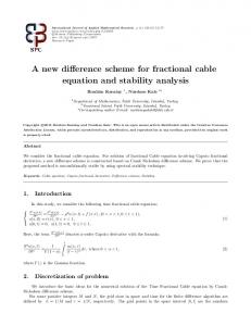 A new difference scheme for fractional cable ... - Semantic Scholar