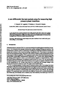 A new differential thermal analysis setup for measuring ... - CiteSeerX