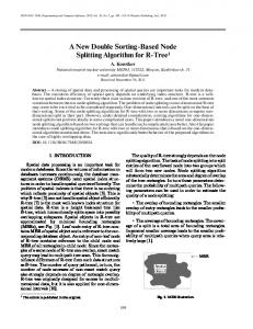 A New Double Sorting Based Node Splitting Algorithm ... - Springer Link