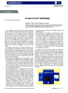 A new era of Andrology - Wiley Online Library