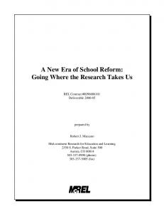 A New Era of School Reform: Going Where the Research ... - CiteSeerX